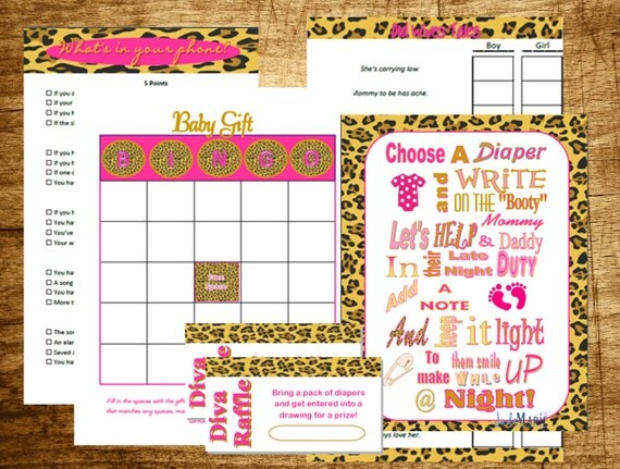 leopard print baby shower game pack unique baby shower entertainment