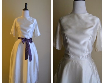 1950's Priscilla of Boston Off White Satin Wedding Dress