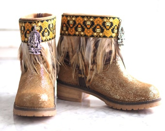 NEW Ready sizes 6.5, 7, 7.5,8.5 Upcycled Reworked new GOLD Sbicca leather boho gypsy boots festival boots Harness boots Motorcycle boot