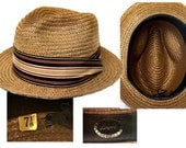 1960s Straw Fedora / Beach Hat / Rockabilly Hat / Hipster Hat