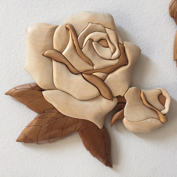 Items similar to aspen wood intarsia rose with rosebud