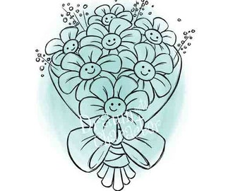 Smiling Flower Bouquet Design with Sentiment, Cookie Image, Digital Stamp, Coloring Page, Card Image