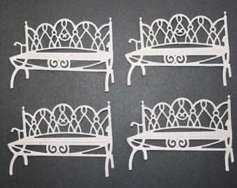 4 Thin Chipboard Garden Benches/Bench/Die Cut Bench/Chipboard/Park Bench/Park/Spellbinders