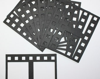10 Die Cut Filmstrips That Will Hold Two Pictures Each/Embellishments/Die Cuts/Scrapbooking/Card Making/Sizzix/Paper Cuts/Film Strip/Picture