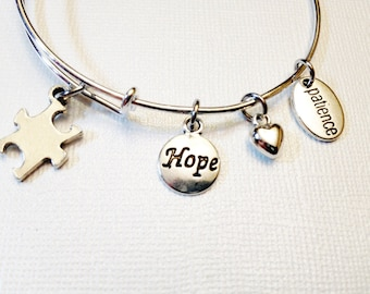 Autistic Theme Silver Adjustable Bangle, Hope, Patience, Heart Charms,Autism, Gift for Her, Girlfriend, Wife,Daughter
