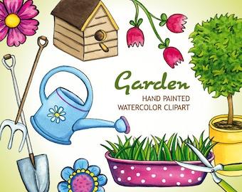 Spring Watercolor Garden Clip Art Set, Scrapbook Hand Painted Clipart, Flower DIY Gardening Tools, Colorful Birdhouse Flower Tree Elements