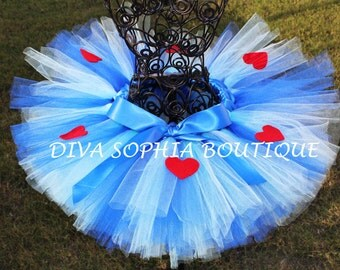 Alice in Wonderland Tutu with Hearts -Blue Heart Tutu - Birthday Tutu