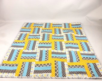 Handmade baby pram or crib quilt. Christening, new baby or baby shower gift girly quilt made in UK perfect for a snuggle or security blanket
