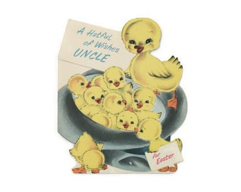 Vintage Easter Greeting Card ~ A Hatful of Wishes Uncle ~ Duck Norcross Easter Card ~ Uncle Easter Card