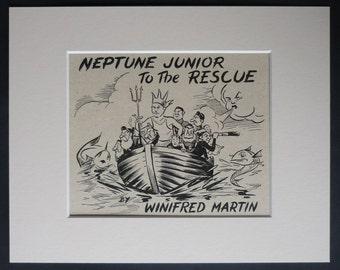 1950s Vintage Nautical Print of 'Neptune Junior to the Rescue' Retro fantasy art, nautical fairy tale decor - Maritime Gift - Boat Picture