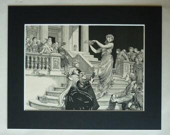 1880s Antique Hubert Herkomer Print, Neoclassical Decor, Available Framed, Victorian Art, Primroseprints, Ancient Greek Style, Home Decor