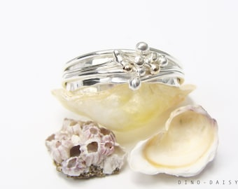 Fine Silver & Gold Anemone Ring