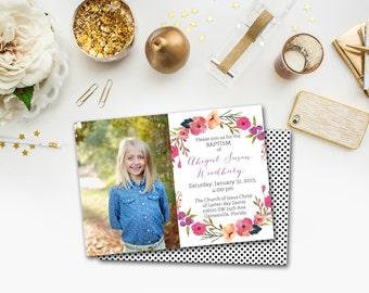 LDS Baptism Announcement/Invitation - Flower wreath