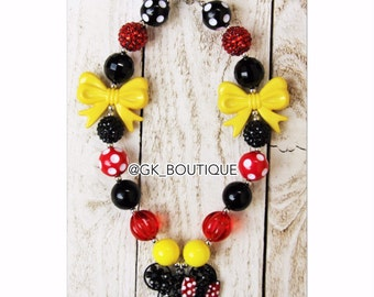 Classic Minnie Mouse Bling Chunky Necklace