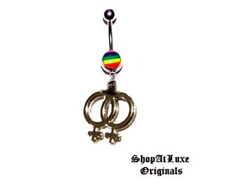 Rainbow Belly Ring With Lesbian Pride Dangle