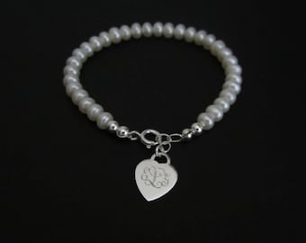 Personalized Pearl Bracelet. Monogrammed Sterling Silver Heart Bracelet. Bridesmaid. Flower Girl Bracelet. White Pearl Bracelet. Wedding.