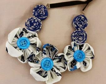 Ratih Flower Batik Necklace White/Blue