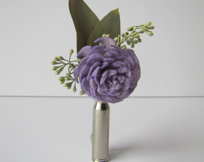 Lavender Bullet Casing Boutonniere - Lavendere Bullet Shell Boutonniere - Lavender Sola Flower Boutonniere - Keepsake Boutonniere - Prom