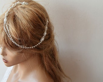 Bridal Hair Accessory, Rhinestone and Pearl  headband, Wedding headband,  Bridal Headband
