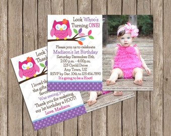 Blossom Owl Birthday Invitation OR Thank You Card Printable Digital File