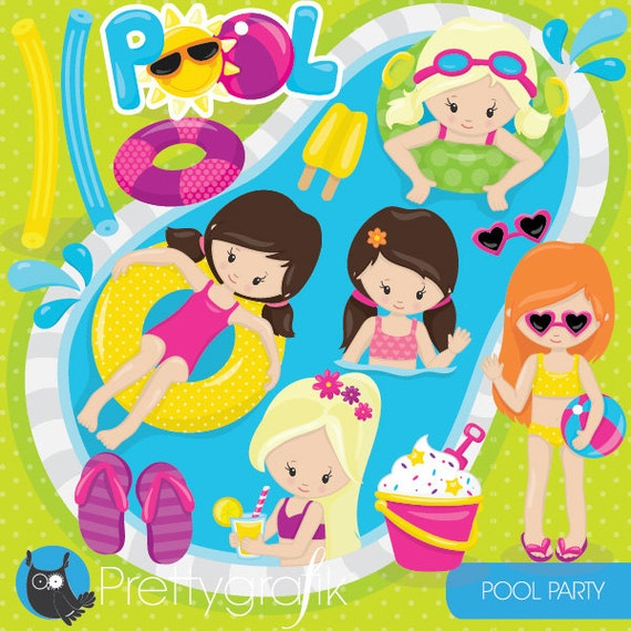 Pool Party Girls Clipart Commercial Use Kids Vector Graphics