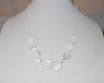White and Clear Crystal Long Statement Necklace