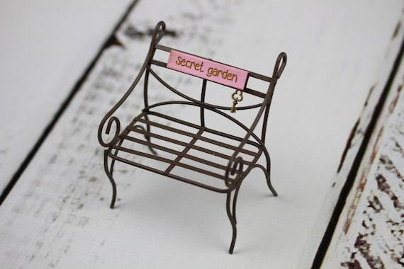 Accessoire miniature fée jardin banc mobilier Jardin Secret