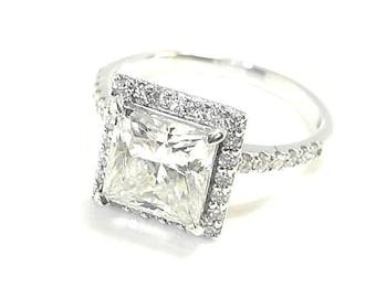 Moissanite diamond - 2.11 carat  Princess cut - Gold engagement ring - Diamond halo