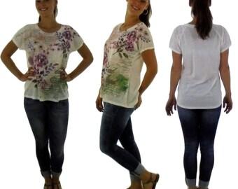 FV300 Damen Shirt Vintageoptik Gr. 36-42 weiß