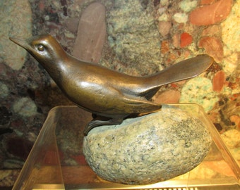 Vintage Charles Reusser Bronze Bird Sculpture Switzerland 1886-1961