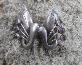Vintage Mexican Sterling Silver Art Deco Style Earrings Gomez Amethyst