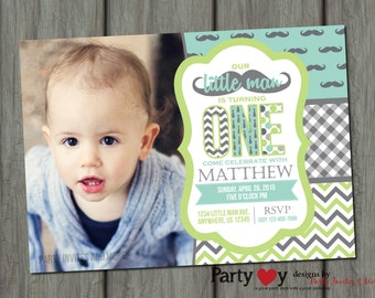 Little Man Birthday Invitation, Mustache Birthday Invitation, Mustache Bash, Little Man Invitation, Number One, Little Man, Mustache
