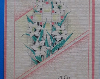 Vintage Easter Greeting with Cross and Lillies Card