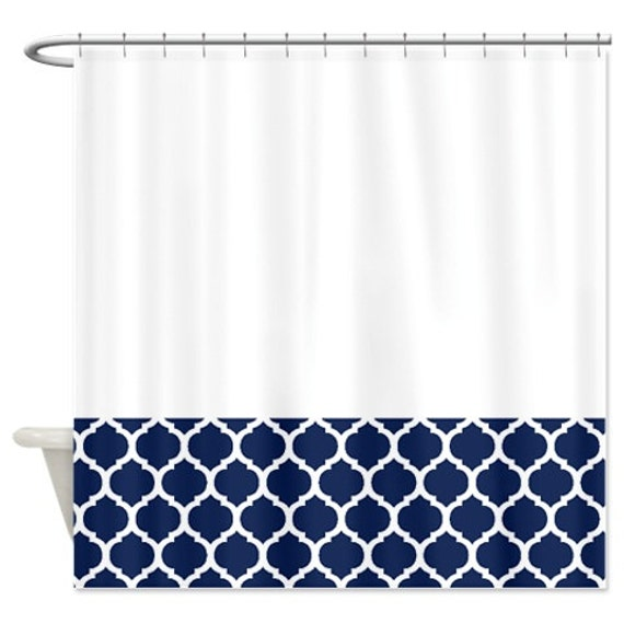 Quatrefoil Shower Curtain White and Navy Blue Pattern or