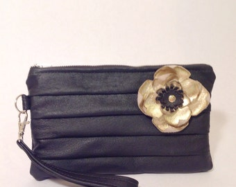 Wall Flower leather pouch