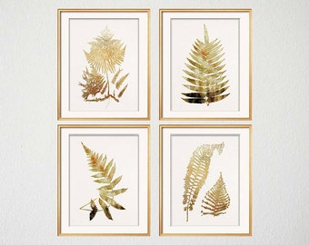 Gold Print Set of Four, Gold Botanical Art Prints, Gold Fern Silhouettes, White and Gold Art, Living Room Art, Gold Artwork