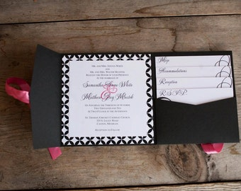Custom Pocket Fold Wedding Invitation, sample