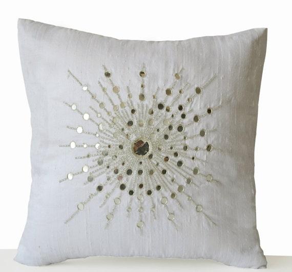 Silver Beaded Decorative Pillow : Items similar to Decorative Throw Pillow Cover, Premium Beaded Pillow, Pure Silk Silver ...