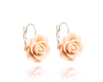 Romantic Cabochon Vintage Pink Rose Earrings