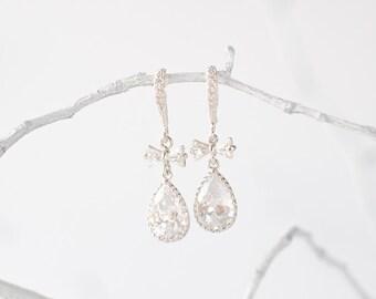 Silver crystal bow earrings, bridal jewelry, wedding jewelry