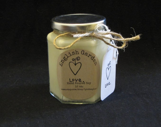 Handmade, Hand Poured, all Natural, Unique, 100% Soy Candle in a 12 oz. Glass Hex Jar with Cotton Wick