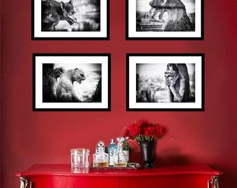 Black and White Paris Photo Set - set of 4 prints gargoyles Notre Dame architecture gargoyle halloween decor gothic wall art 5x7 8x10 11x14