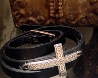 Sideways Cross Bracelet. First Communion Girl. Leather Cross Bracelet. First Reconciliation Gift.  Leather Bracelet. Wrap