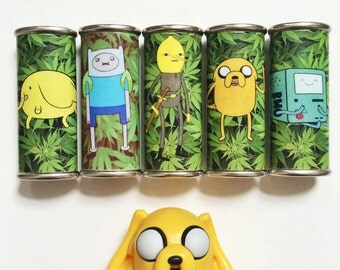 Adventure Time Characters & Weed Metal Lighter Case