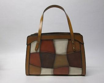 Vintage Color Block Leather Handbag