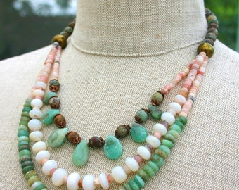 OPAL FUSION STATEMENT,Tribal,Natural,Organic Necklace