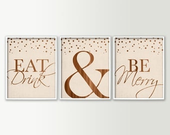 Eat Drink & Be Merry Dining Room Art - Dining Room Wall Decor - Dining Room Decor - Modern Wall Art Prints - Kitchen Decor Kitchen Signs
