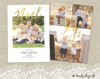 Christmas Card Holiday Photo Card Template for Photographers INSTANT DOWNLOAD