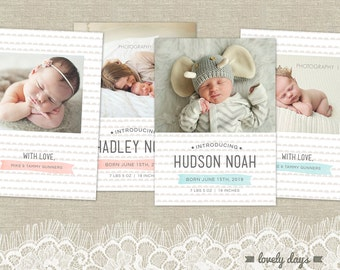 Boy Girl Birth Announcement Set Baby Template Photoshop INSTANT DOWNLOAD