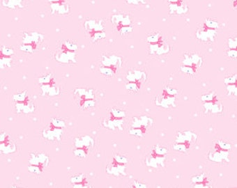 Half Yard of Pam Kitty Picnic 'Tiny Terriers'- Baby Pink, Pam Kitty Morning, Pam Kitty Picnic Coordinate, Sewing Supplies